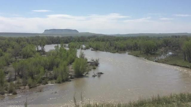 The Sun River makes the Sun River Valley flower with crops. This year, the river, flowing dangerously high due to high snowmelt,  has residents fearful of flooding.