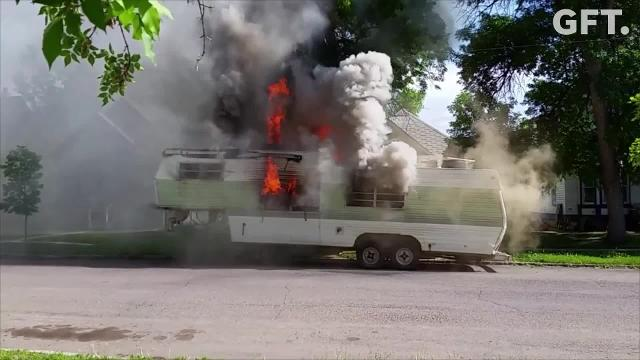 A Great Falls man has been charged with two felonies in connection to a camper fire Sunday.
