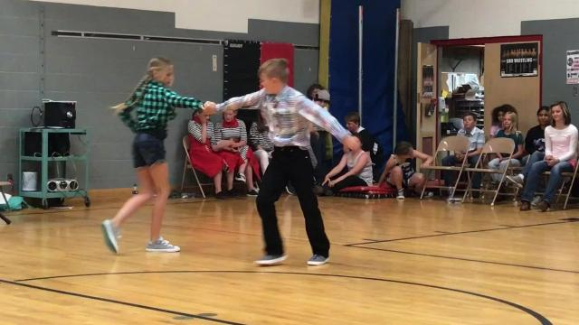 11-year-olds Ashlyn Jarrett and Kale Baumann win the third-annual Valley View 5th and 6th Grade Jitterbug Competition.