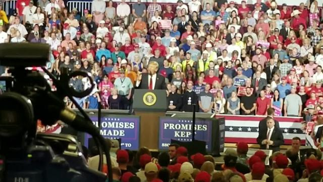 """President Trump's """"Pocahontas"""" remarks directed at Sen. Elizabeth Warren, D-Mass., at a Great Falls rally on July 5, 2018."""