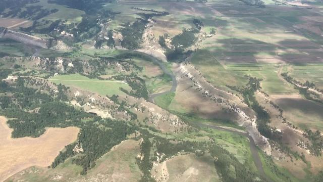 Fly over the American Prairie Reserve and Upper Missouri River National Monument to get a unique look at the rugged landscape