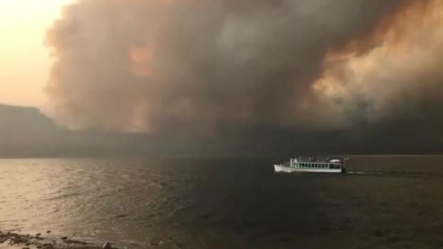Visitors at Lake McDonald Lodge had a front-row seat when the Howe Ridge fire exhibited extreme behavior Sunday evening.
