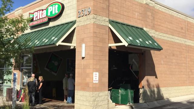 The Great Falls Pita Pit on 10th Avenue South was damaged after an early morning vehicle crash.