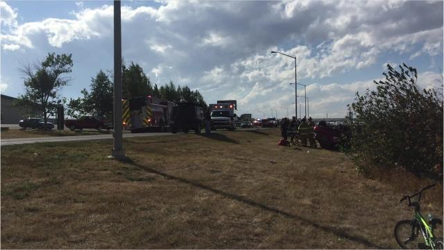 Two vehicles collided on River Drive North Sunday near its intersection with 15th Street North.