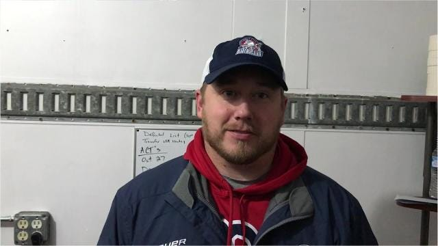 Greg Sears - and his 1-year-old daughter - visit about the Great Falls Americans hockey season. Sears is the first-year head coach of the NA3HL franchise.