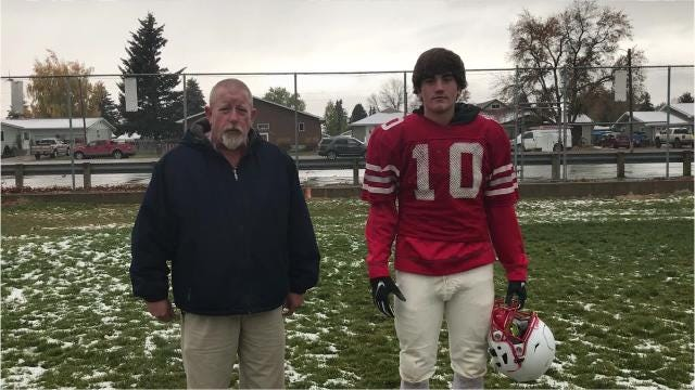 "Conrad senior Bridger Russell takes the 100-yard walk with the Tribune's Lee Vernoy to talk about ""Cowboy Pride"" and playing under new head coach Keith Munson. Also, the entire Cowboys' team sings the Conrad Fight Song."
