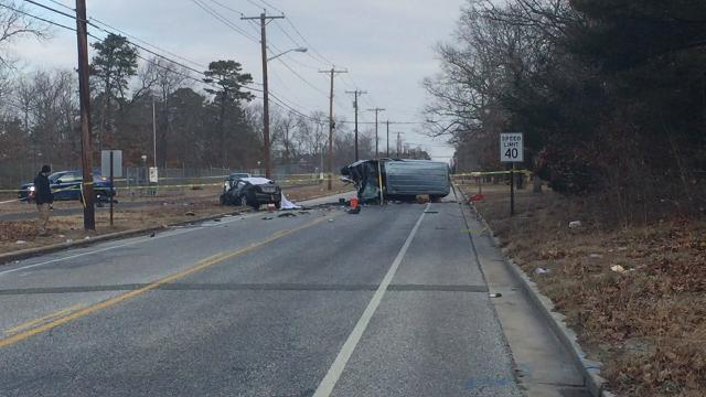 Vineland Police investigate fatal crash Feb. 8, 2018 along Mill Road that also sent 11 people to area hospitals.