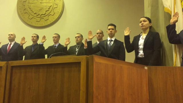 14 new officers take oath during ceremony Feb. 22, 2018 in Vineland City Hall.