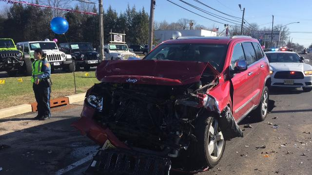 One person was reported injured in a chain-reaction crash on Delsea Drive, near Garrison Road, on Feb. 27, 2018.