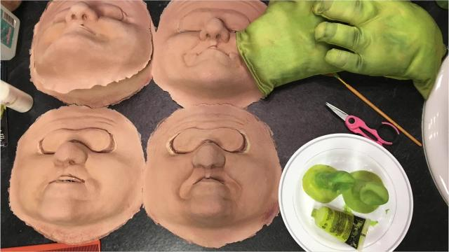 "Makeup and prosthetics used in ""Shrek: The Musical"" at Wayne Theatre."