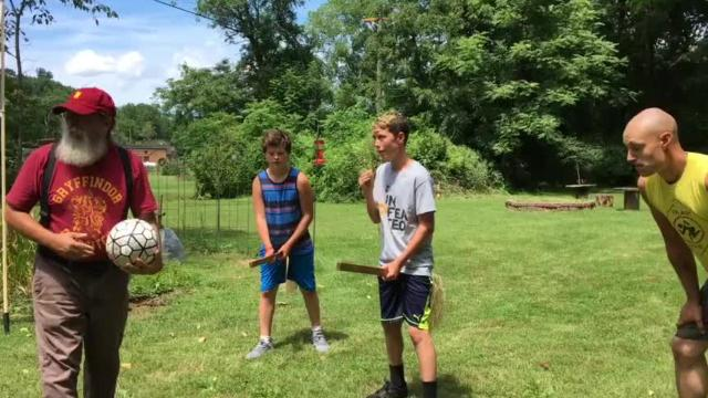 The four houses of Hogwarts practice quidditch for Staunton's Queen City Mischief & Magic Sept. 22-24.