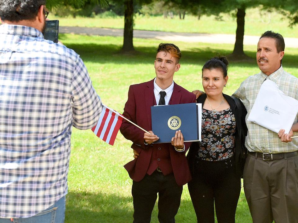Juan Manuel Rodriguez Lopez originally immigrated to the United States from Mexico. He joined over 70 others in becoming U.S. citizens during a naturalization ceremony held at Frontier Culture Museum in Staunton, Va.