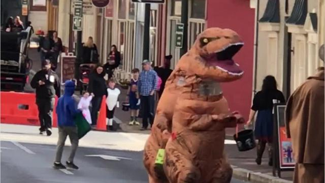 Check out these people dressed up as dinosaurs in the streets of Staunton, Virginia on Saturday, Oct. 28, 2017. Not only are they hilarious, but they've got some great dance moves. Video submitted by Clare Rogers. Video edited by Laura Peters/The News Leader