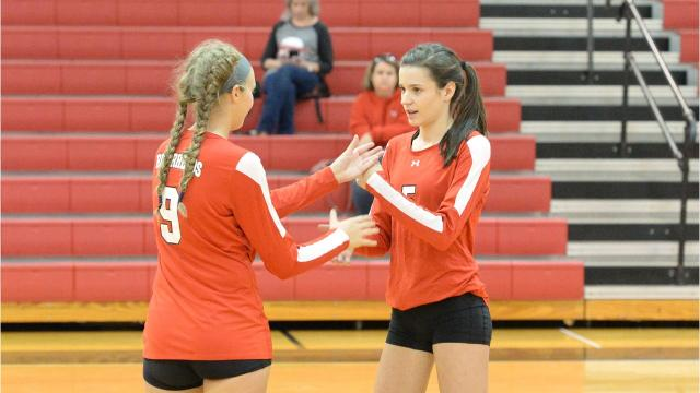 After every point that Riverheads volleyball scores, Abbey Eavers and Sydney Phillips have a fist bump, hand slap ritual that they go through. Sometimes it's more elaborate than other times, but the two say they've never forgotten to do some version of it following a score by the Gladiators.