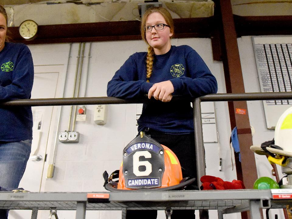 Junior volunteer firefighter Arianna Hoover, 16, of the Verona Volunteer Fire Company came to a crossroads in life where she had to choose between a firefighter's life or that of a teenager.