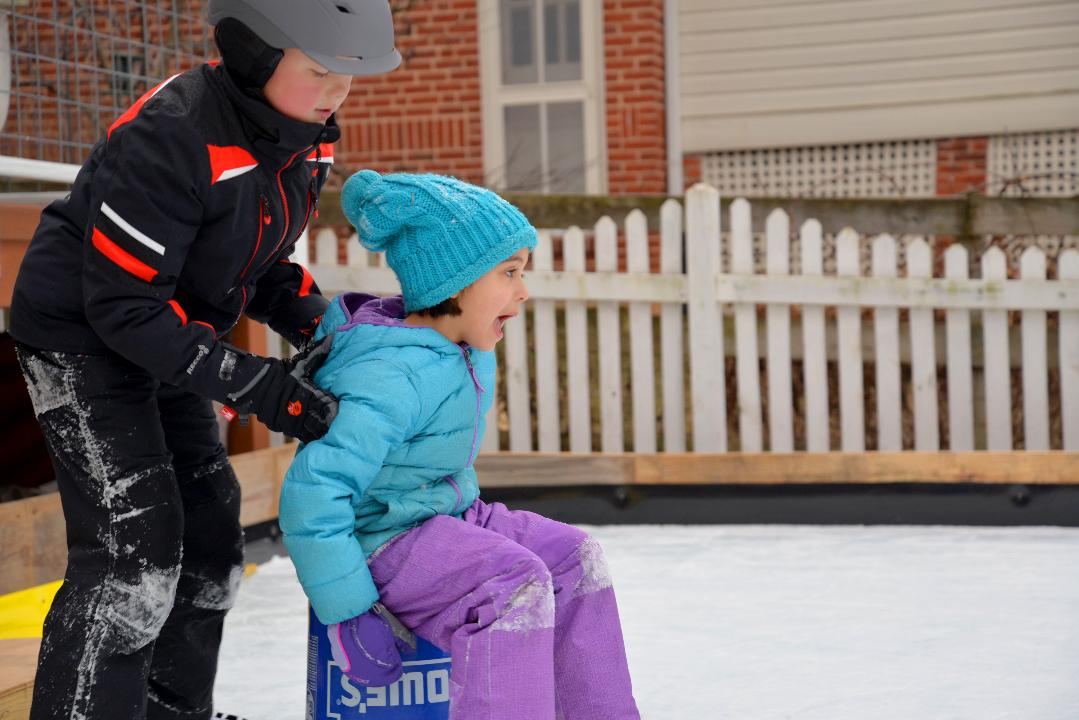 Ryan Gundling built an ice skating rink in his backyard at his Sherwood Avenue home in Staunton, allowing his children and the neighborhood to take advantage of it.