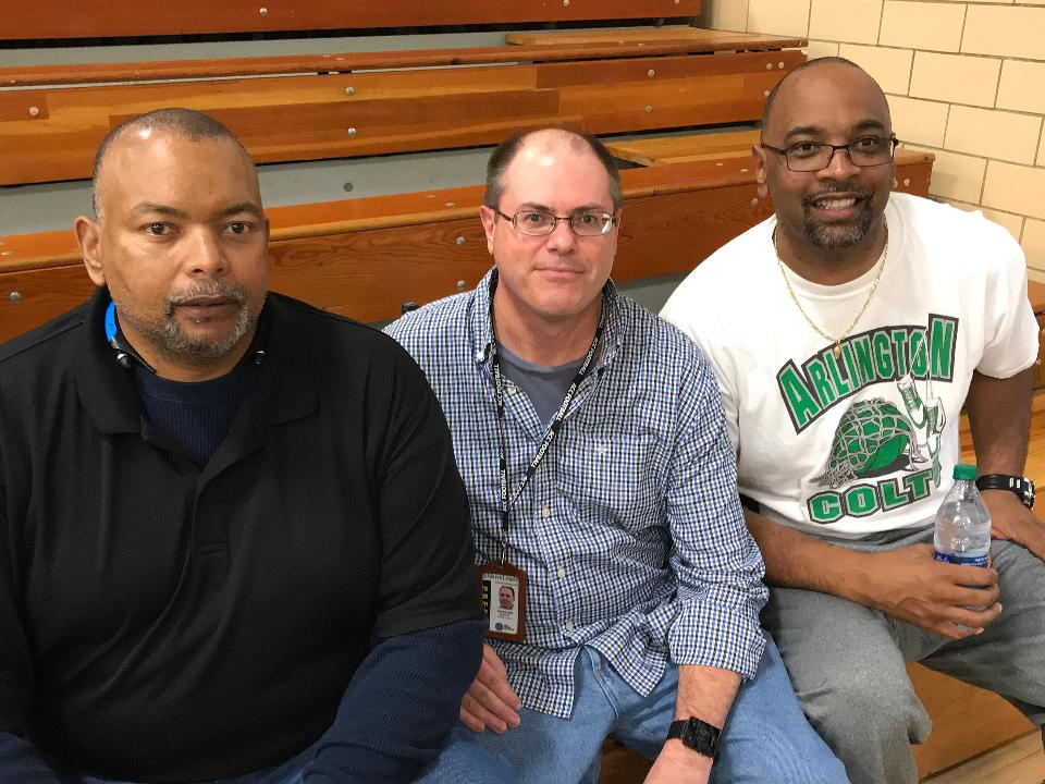 Pregame --- East Rock vs. R.E. Lee matchup as they go for the Shenandoah District boys basketball championship. Sports reporter Patrick Hite before the tipoff with R.E. Lee alumni Kevin and Mike Madden — well known basketball players from Lee's past.