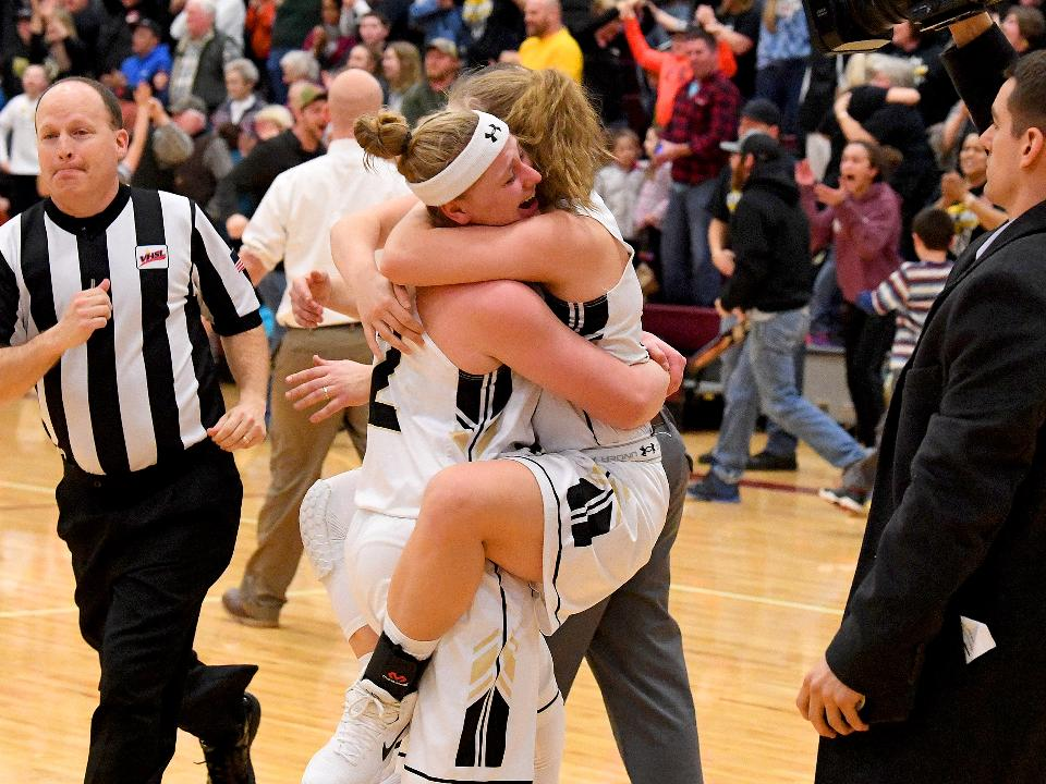 Postgame --- Buffalo Gap defeats George Mason in VHSL Class 2 state semifinals and will advance to the state championship. Hear Gap's Leah Calhoun talk about the three point basket she scored to win the game.