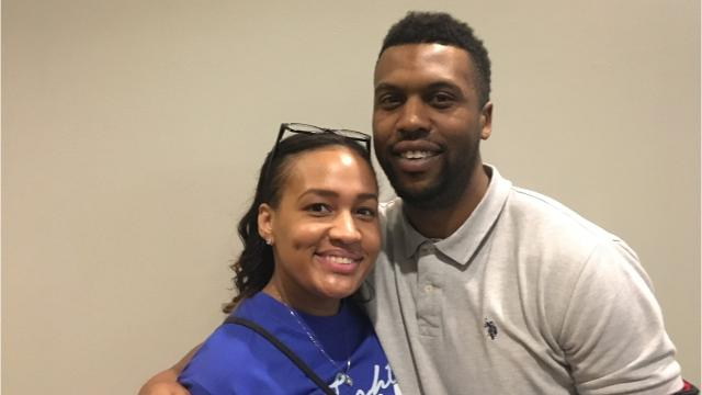 Courtney Sanderson won two basketball state championships with Buffalo Gap at VCU's Siegel Center. Ryan Crawford did the same with Robert E. Lee. The two are now engaged and, on Friday, were back in Richmond to see their alma maters play for this year's state title.