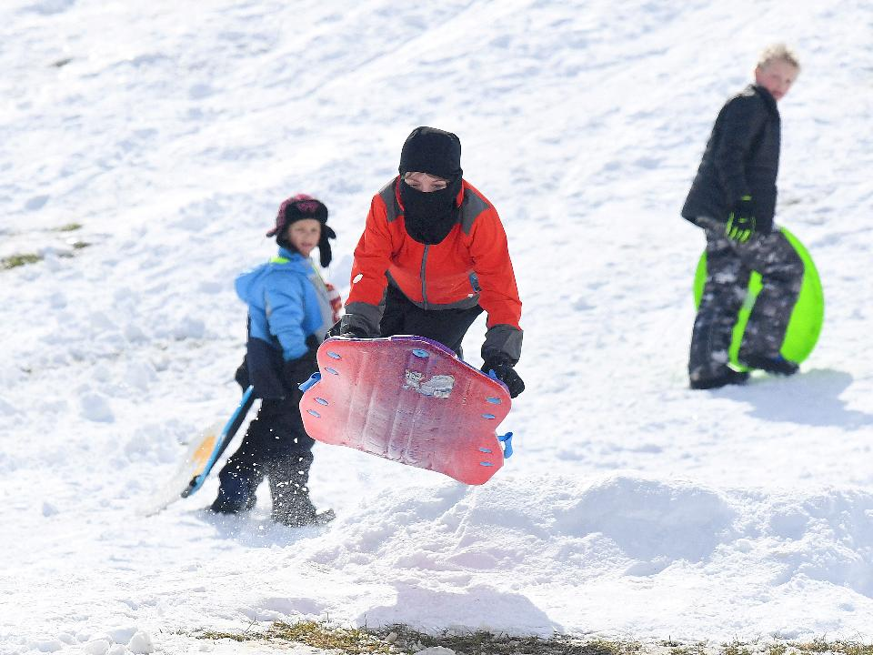 With the spring snow comes sledding. Here are a few highlights from sledding play action at one of the community's favorite sledding locations over on campus at Mary Baldwin University in Staunton, Va.