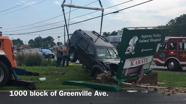 No serious injuries were reported in Staunton on Wednesday after an SUV went airborne and struck a sign on Greenville Avenue.