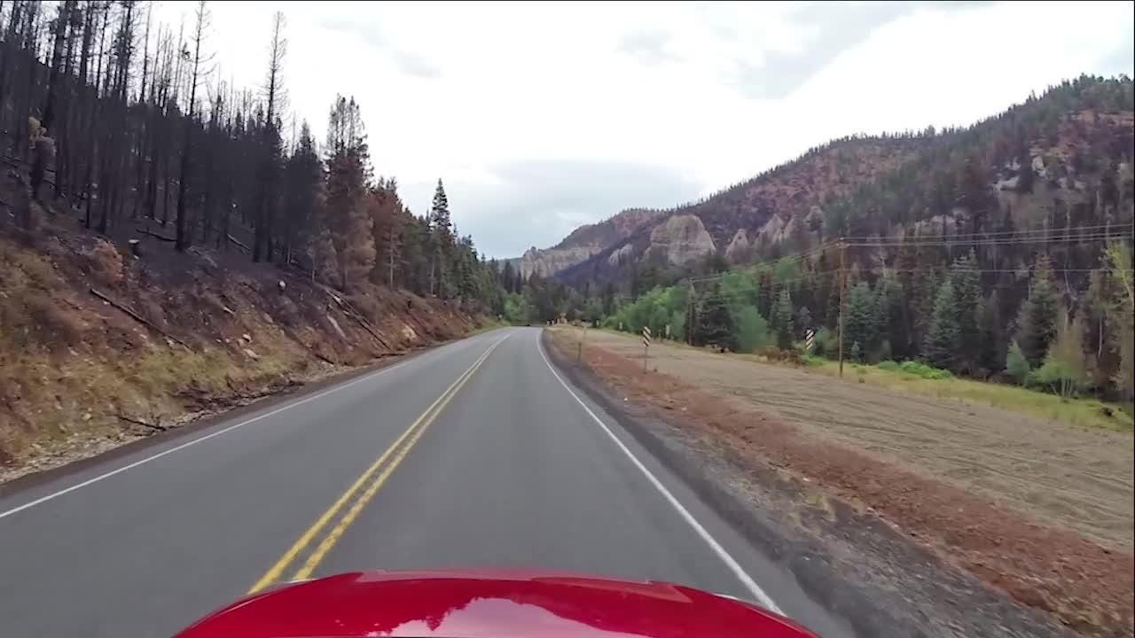 A drive through Parowan Canyon heading north on Highway 143 from Brian Head towards Parowan.