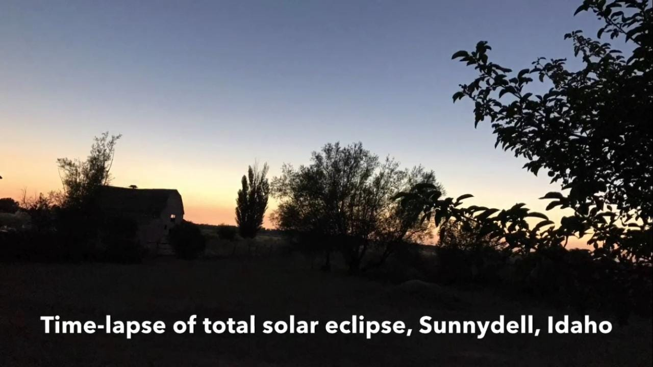 This time-lapse video captures the changing light during the total solar eclipse of Aug. 21, 2017, in Sunnydell, Idaho, which is near the center line of the path of totality.