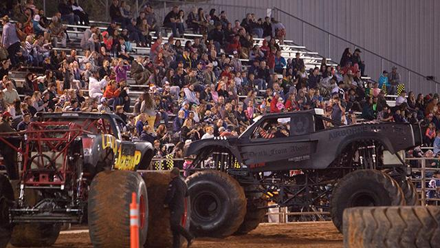 Drivers compete during Monster Truck Hysteria at the Washington County Fairgrounds Saturday, Oct. 21, 2017.