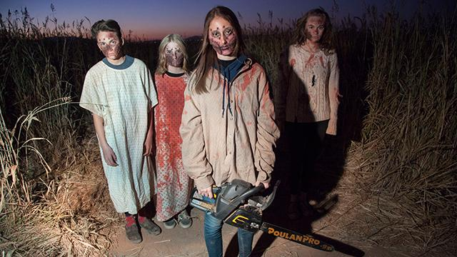 Guests wander through the Field of Screams at Staheli Family Farm Wednesday, Oct. 25, 2017.