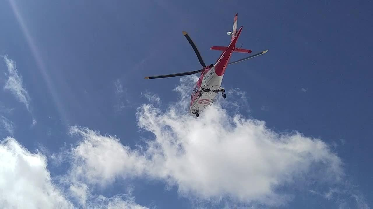 A Life Flight helicopter carrying an injured 16-year-old takes off from Brian Head Resort in Southern Utah on March 23, 2018.