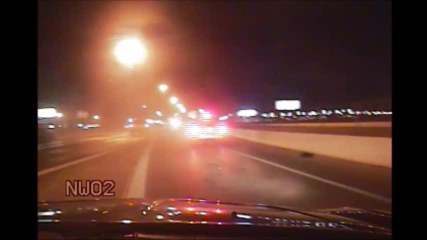 Nevada Highway Patrol released a video to deter people from driving while impaired. NHP dashboard video shows an SUV as it hits the deputy's vehicle and then swerves across multiple lanes. The driver failed a field-sobriety test and was arrested.