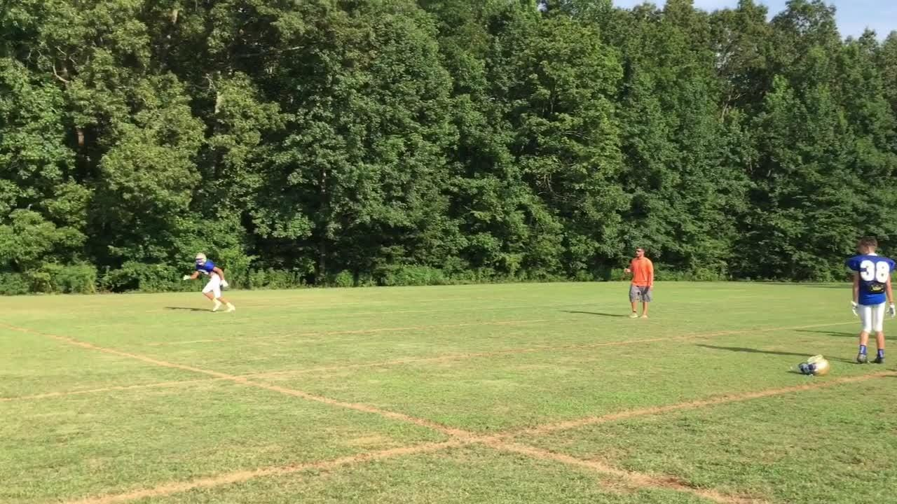 Huntingdon had its first football practice in pads on Monday at 5 p.m.