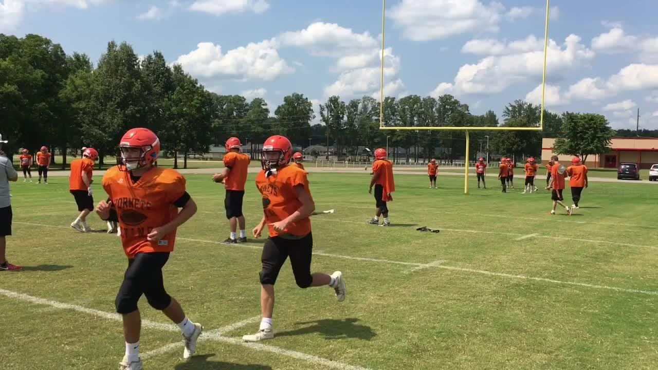South Gibson practices on Wednesday to get ready for Friday's scrimmage against Trenton Peabody.