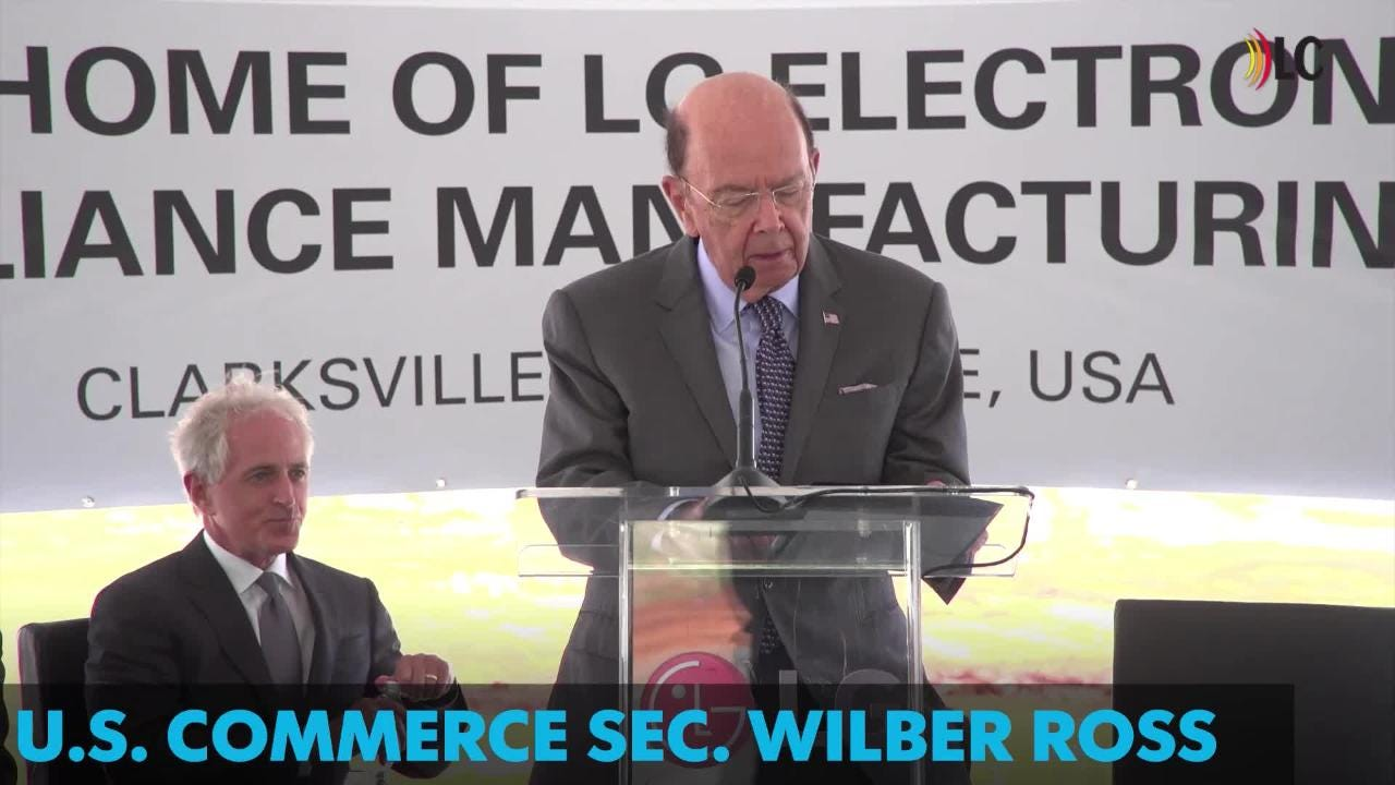 U.S. Commerce Sec. Wilber Ross praises new LG facility, which is expected to bring 600 jobs to Clarksville by early 2019.