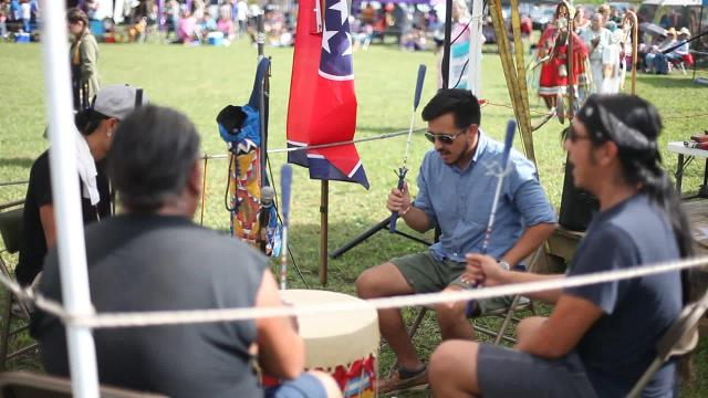 Drumming at Intertribal Powwow in Adams, Tenn.