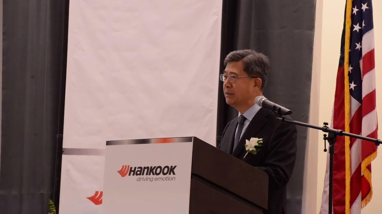 Seung Hwa Suh, global CEO of Hankook Tire, expresses gratitude to everyone for their help in opening Clarksville's plant.