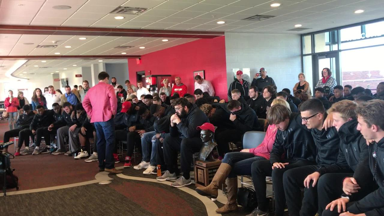 Coach Will Healy spoke to his team after Austin Peay was not selected for the FCS Playoffs.