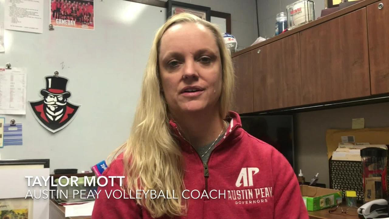 Austin Peay volleyball coach Taylor Mott and middle blocker Ashley Slay discuss the Govs' chances vs. UCLA.