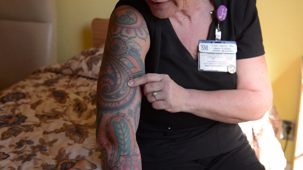 Trish Harris, the Director of Nursing at Spring Meadows Health Care Center in Clarksville, talks about her experience with tattoos as a professional. Her artist, Ricky Cavaness, discusses how it's become more acceptable over the years.