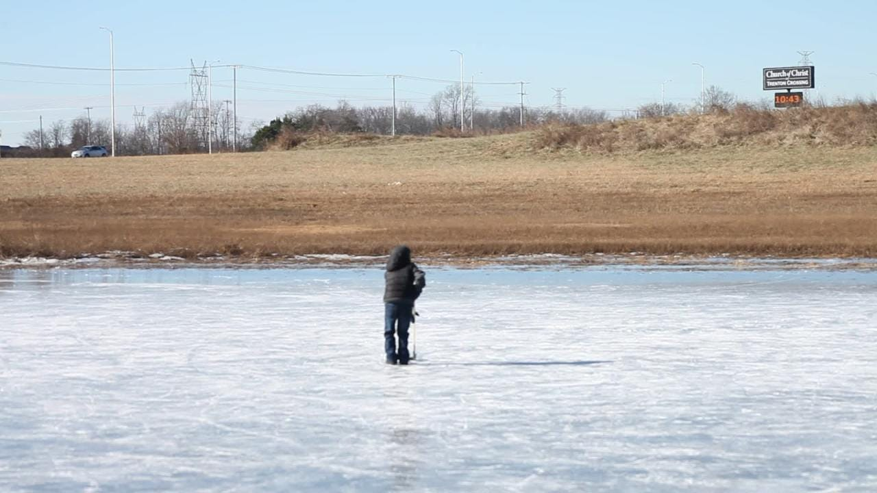 The pond at the corner of 101st Airborne Division Parkway and Trenton Road attracted hockey fans and enthusiasts on Saturday morning.