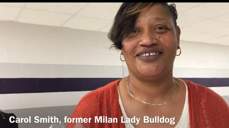 Former Milan Lady Bulldogs basketball player Carol Smith discusses having her No. 53 jersey retired on Jan. 6, 2018.