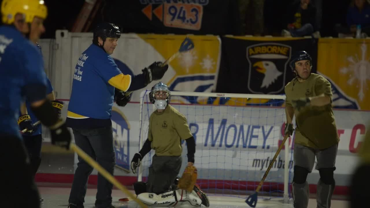After a slick battle, the 101st Airborne Division (Air Assault) took home the broomball win against the county.