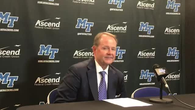MTSU coach Kermit Davis after his team's 72-57 win over LA Tech at Murphy Center on Thursday night.