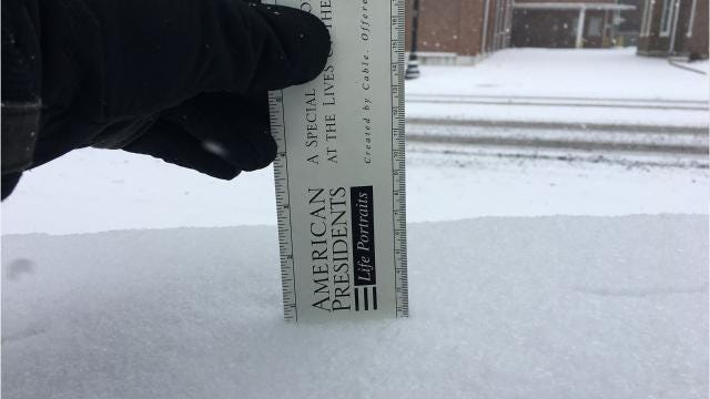 About three-quarters of an inch of snow was measured in downtown Murfreesboro just before 10 a.m. Tuesday, Jan. 16.