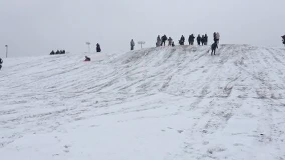 MTSU students gathered on a hill near Greek Row to take advantage of an opportunity to sled.