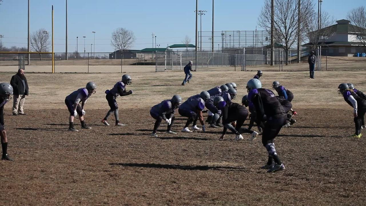 The Clarksville Airborne semi-pro football team practices on Jan. 6, in preparation for their upcoming season.