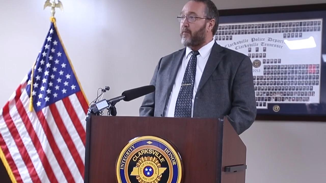 During a press conference for unsolved homicide investigations, Sgt. Tim Finley briefly describes the 5 crimes and asks the public if they have any information, to contact Crime Stoppers.