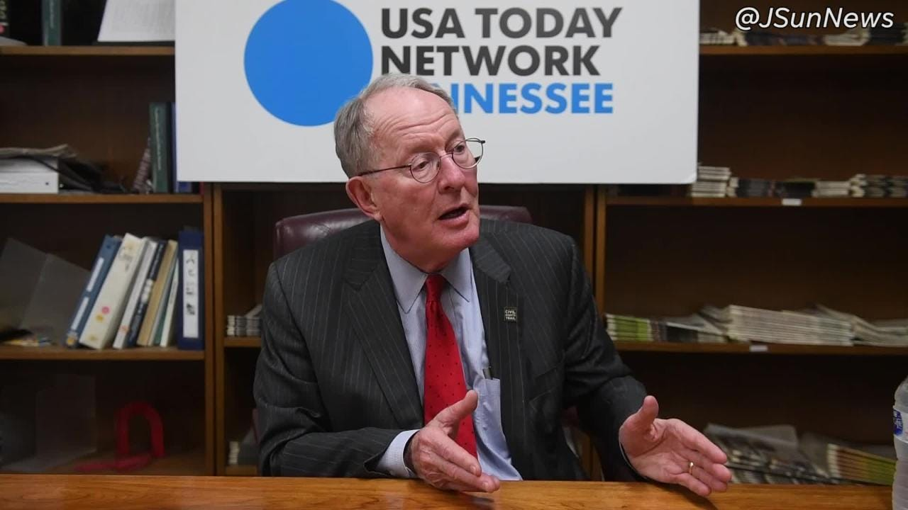 Tennessee Senator Lamar Alexander talks about healthcare during an interview at The Jackson Sun.