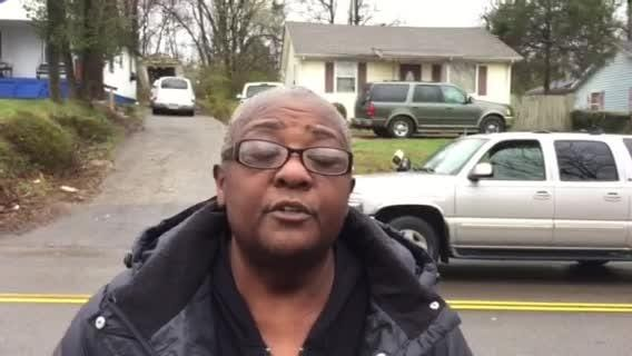 Cheryl Huntley pleads for information about her daughter Chrissy Huntley in front of the home where her father was fatally shot