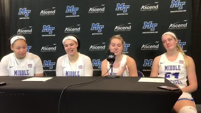 MTSU seniors Gabby Lyon, Abbey Sissom and Rebecca Reuter on their senior day win over Old Dominion at Murphy Center.